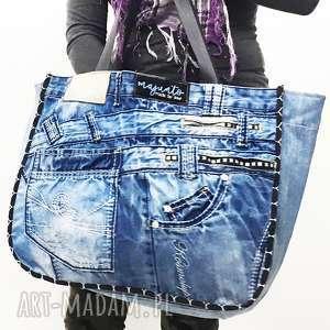 handmade na ramię duża torba upcykling jeans 22 kosmo