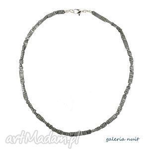 Hematyt matowy - naszyjnik minimalistyczny, hematyt, prostokąt, matowy, srebrny