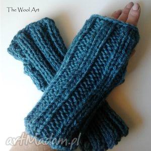 mitenki - morska zieleń - rękawiczki, mitenki, naręce, zieleń