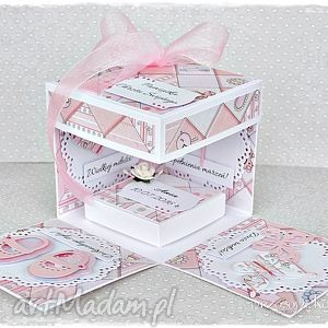 exploding box - pamiątka chrztu dla dziewczynki, box, eksplodujące