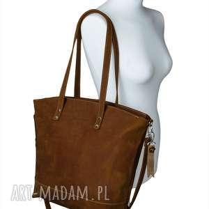 Prezent Ręcznie robiona skórzana torebka rudy-brąz, brązowa damska