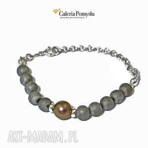 Szare agaty i perła - bransoletka, agat, perła, srebro, delikatna, kamienie