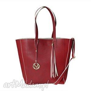 ręcznie wykonane torebki manzana duża torba klasyczna 2w1 bordowa beżowy