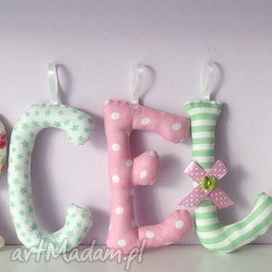 literki szyte imię marcelina ozdoba pokoju - literki, litery, imię, dziecka
