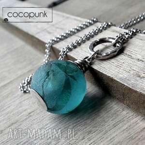 srebro i szkło afrykańskie - długi naszyjnik, recycling, długi, lazurowy