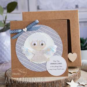 mrufru kartka z aniołkiem w pudełeczku szybką personalizowana treść chrzest