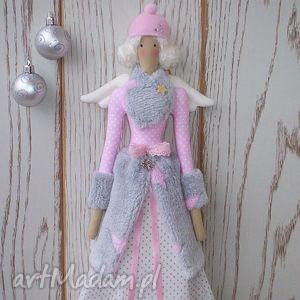 lalka aniołek grey-pink zimowa tilda ivagrazia, tilda, lalka, anioł