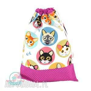 Worek przedszkolaka kotki w kółkach, worek, koty, przedszkole, w-f