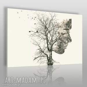 obraz na płótnie - drzewo gałęzie twarz 120x80 cm 67701, drzewo, gałęzie