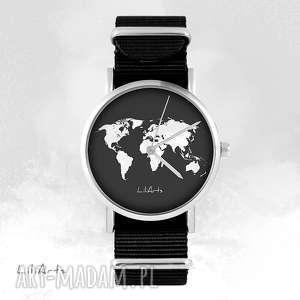 ręcznie robione zegarki zegarek - mapa świata czarny, nato, unisex