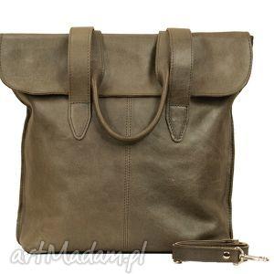 Prezent oliwkowa torba z klapką ze skóry, torba, torebka, prezent, wygodna, naramię