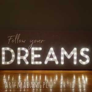 obraz led z cytatem follow your dreams napis litery prezent na 18 20 30 40