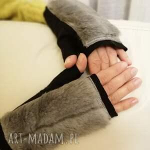 Prezent rękawiczki bezpalcowe z futerkiem czarne, futerko,