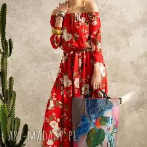 CZERWONA SUKIENKA W KWIATY, sukienka, kwiaty, czerwona, maxi, elagancka, boho