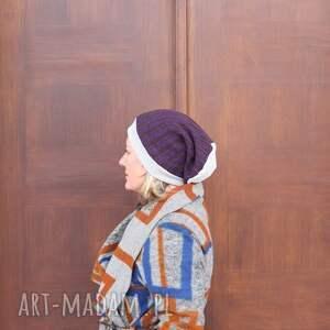 czapka damska fioletowo szara rozmiar uniwersalny, poleca, box 11, etno boho, rower