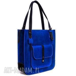 Ręcznie robiona skórzana torebka granatowa, skórzane torby, torebki damskie
