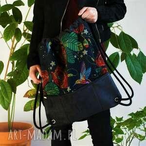 plecak czerń nubuk maki kolibry, vegan, plecak, wycieczka, welur, zamsz
