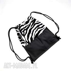 Worek Plecak na rowere wakacje Zebra, worek, plecak, skórzany, unisex, hipster, zebra
