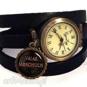 valar morghulis - zegarek bransoletka na skórzanym pasku, tron