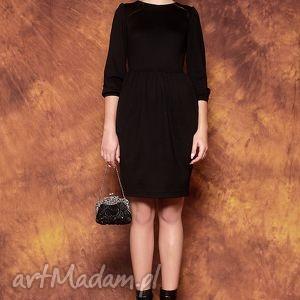 kasia miciak design czarna sukienka z bufkami, sukienka, czarna, bufki, elegancka