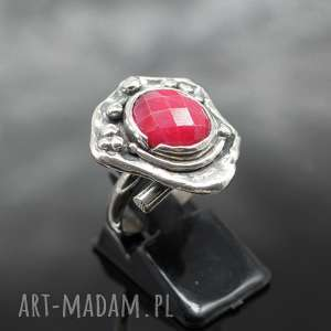 Srebrny pierścionek z rodonitem - Mikka, srebro, rodonit, regulowany, rozmiar