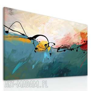 Obraz na płotnie - 120x80cm ABSTRAKCJA W TURKUSIE 0242, druk, płótno