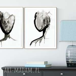 zestaw 2 grafik 30X40 cm wykonanych ręcznie, abstrakcja, elegancki minimalizm