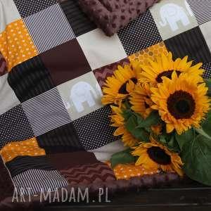 kocyk patchwork minky 80100 cm - sunflower retro - patchwork, słoneczniki, kocyk