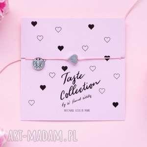 WHW Taste Silver Heart On Pink String, sznurkowa, sznureczkowa, delikatna, makrama