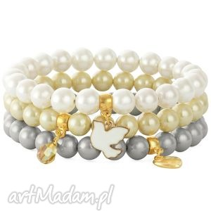 white cream & gray pearls with pendants lavoga - ptaszek, kropla, serce