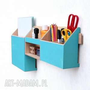 Organizer ścienny drewniany - TURKUSOWY, na-ścianę, biurko, biuro