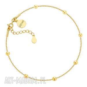 Złota bransoletka na nogę z kuleczkami - ,bransoletka,noga,żółte,złoto,kuleczki,modowa,