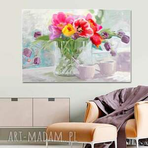 obraz na ścianę kwiaty tulipany w wazonie 120x80, pastelowy