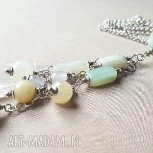 naszyjniki naszyjnik ze srebra i jadeitu, srebro, pastelowy, delikatny, efektowny, na
