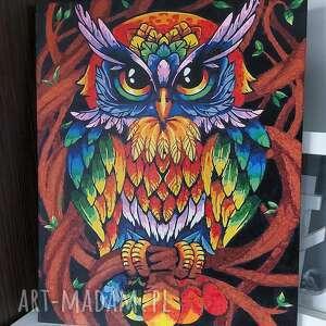 obraz sowy malowany farbami