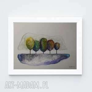 paulina lebida drzewa-akwarela formatu 18/24 cm, drzewa, akwarela, papier