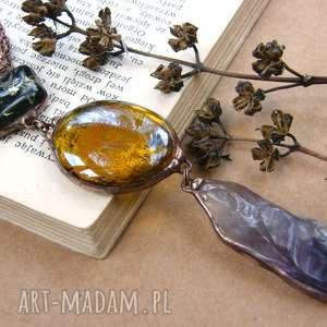 Secesyjny wisior z łańcuszkiem: fioletowo - brązowy naszyjniki
