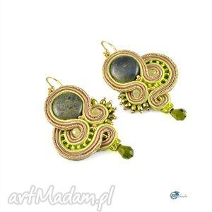 Zielono-złote sutaszowe kolczyki z jaspisem - ,kolczyki,sutasz,soutache,glamour,efektowne,