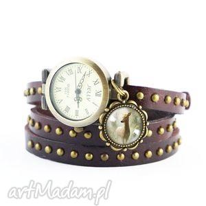 Prezent Bransoletka, zegarek - Sarna brązowy, nity, skórzany, bransoletka, skórzana