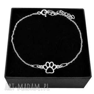 ręczne wykonanie srebrna bransoletka łapka psa kota pudełko