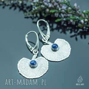 srebrne kolczyki liście z lapis lazuli, kolczyki