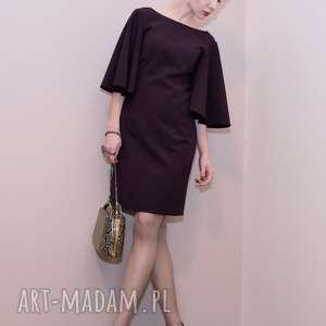 sukienki koktajlowa sukienka / fioletowa - adeline, falbany, szerokie rękawy