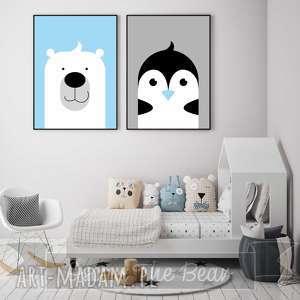 """Zestaw plakatów dla dzieci """"miś i pingwin"""" a4 pokoik dziecka"""