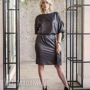 sukienka dopasowana dołem, suk123 czarny z połyskiem, odsłonięte, sexi, zmysłowa