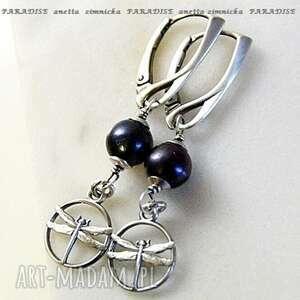 srebro kolczyki, naturalne czarne perły z ważką, perły, srebro, zawieszki