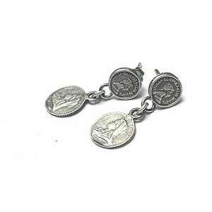 Numizmaty vol 9 - kolczyki katia i krokodyl srebro, monety,