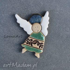 ceramiczny magnes aniołek , magnesy, ceramika, ceramiczny, dom