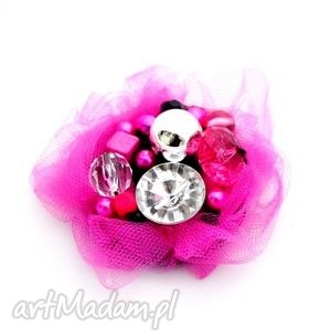 broszka fuksja - broszka, handmade, tiul, fuksja, róż, różowa