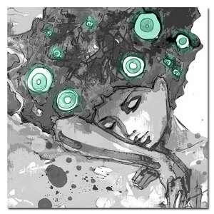 obraz xxl konbieta 14 miętowy - 50x50cm design na płótnie, obraz, kobieta