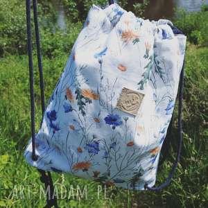 ręcznie zrobione worek plecak jeans bawełna w polne kwiaty